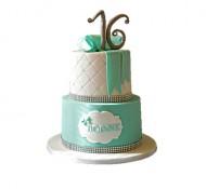Sweet 16 (wit) 3D taart bezorgen in Leeuwarden